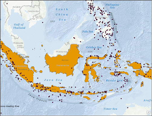 Earthquakes (points) occurred around Indonesia (polygon)