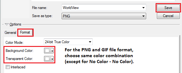 The Format tab of the Export Map dialog box for the PNG and GIF file format.