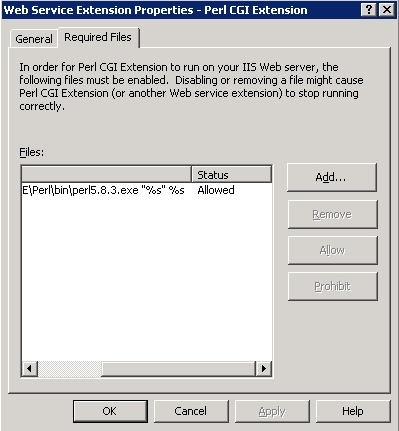 [O-Image] Web Service Extension Properties - Perl CGI Extension dialog box