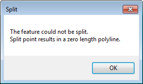 "The error message, ""The feature could not be split. Split point results in a zero length polyline."" is returned."