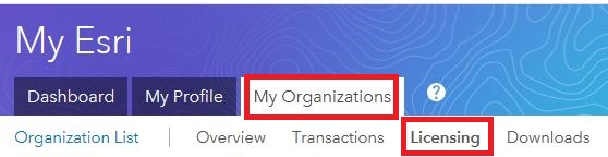 Image of the Licensing selection under the My Organizations tab