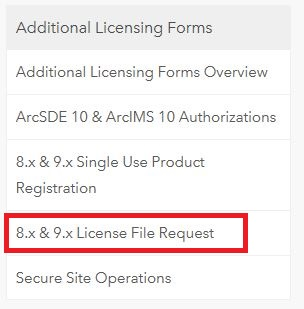 Image of the additional licensing forms section