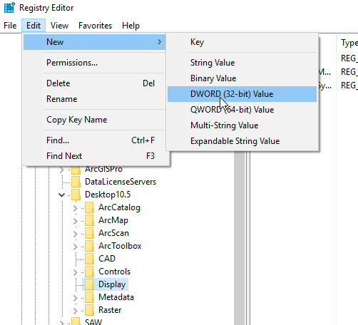 An image of the Registry Editor instruction to DWORD Value.