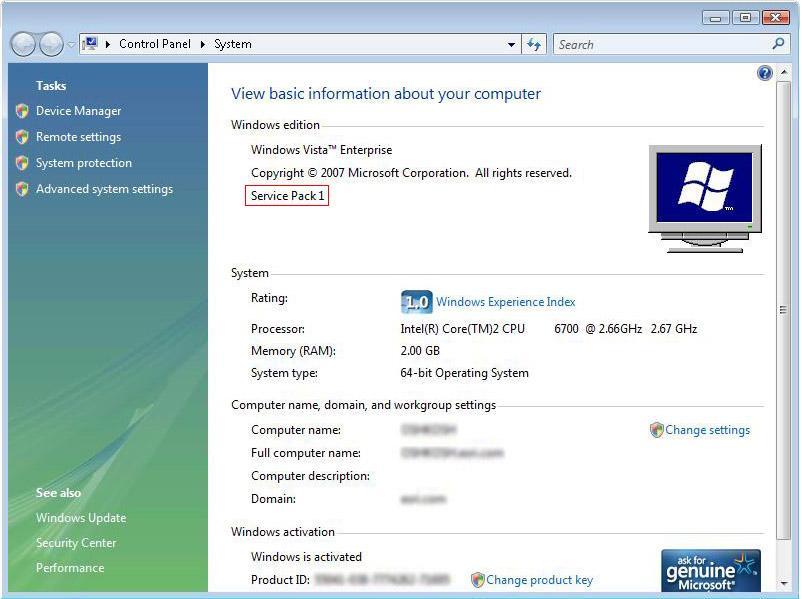 [O-Image] [O] Image - Windows Vista System Control Panel