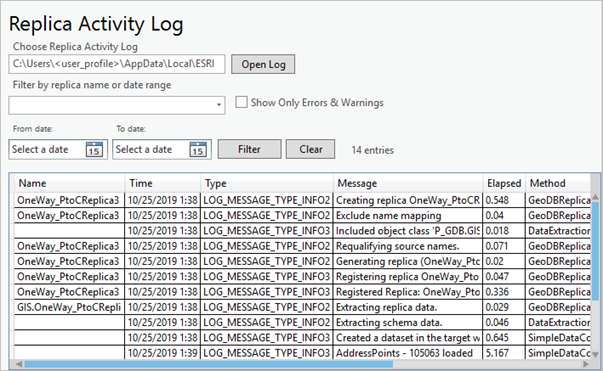Formatted view of the ArcGIS Pro replica activity log file.
