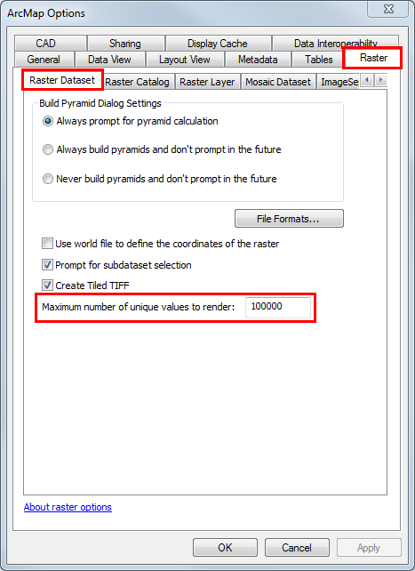 An image of the ArcMap Options dialog box.