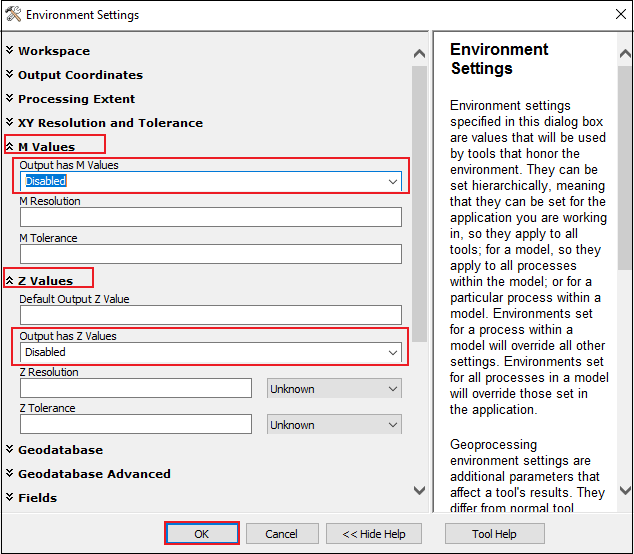 The image shows the Environment Settings window.