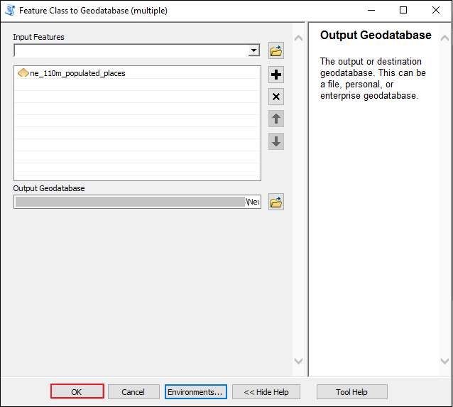 The image shows the Feature Class to Geodatabase (multiple) tool window.