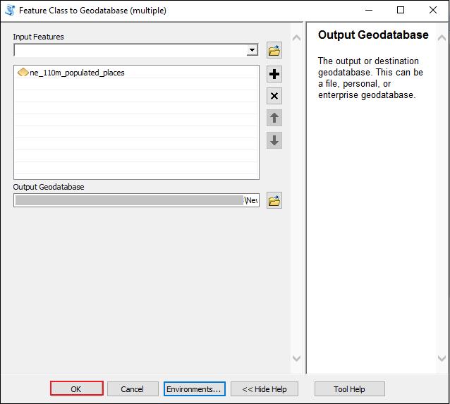 A imagem mostra a janela da ferramenta Classe de Feição para Geodatabase (Múltiplo).