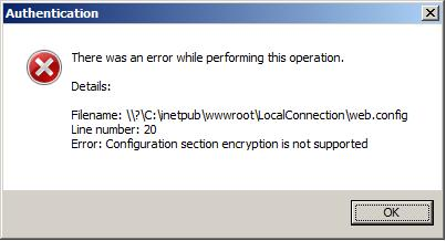 Problem: IIS 7 error when enabling authentication on a Web