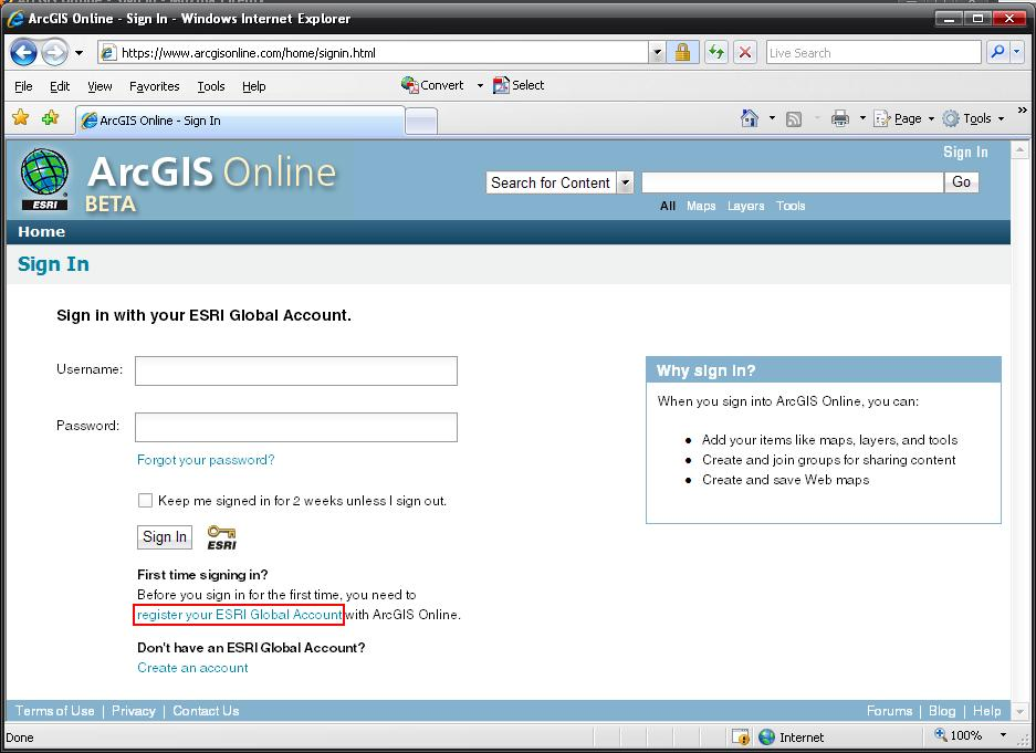[O-Image] Register your ESRI Global Account with ArcGIS Online