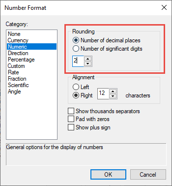 Image of the Rounding section in the Number Format dialog.