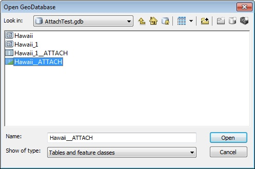 Image showing the ATTACH table