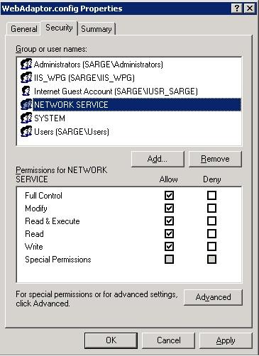 [O-Image] WebAdaptor config permissions in IIS 6