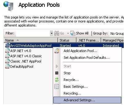 [O-Image] Web Adaptor AppPool Advanced Settings