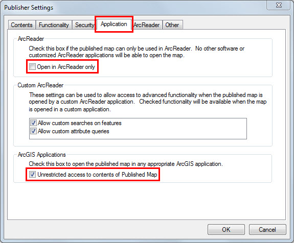 An image of the Publisher Settings dialog box.