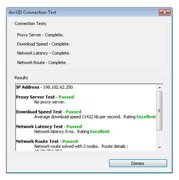 ArcGIS Connection Test status
