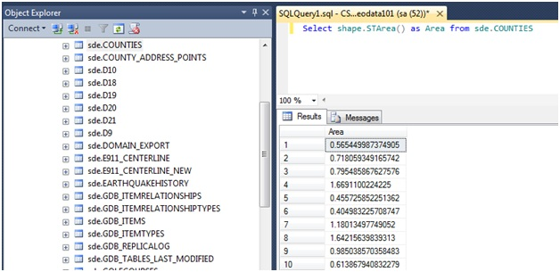 How To: Calculate the area of data stored using either the SQL