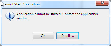 Error: Application cannot be started  Contact the