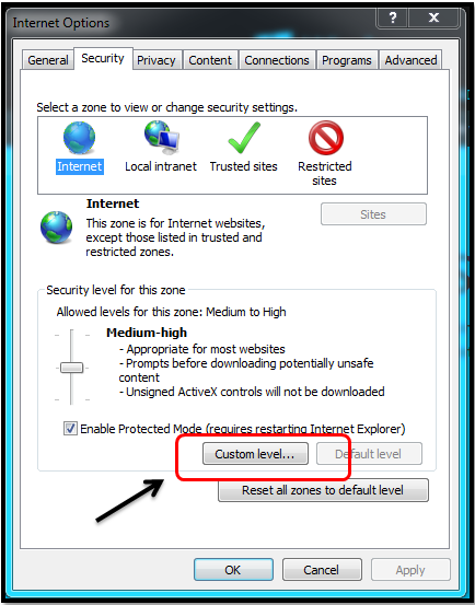 content from the website listed below is being blocked server 2016