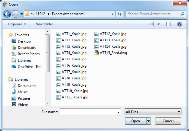 An image of the exported attachments in a folder.