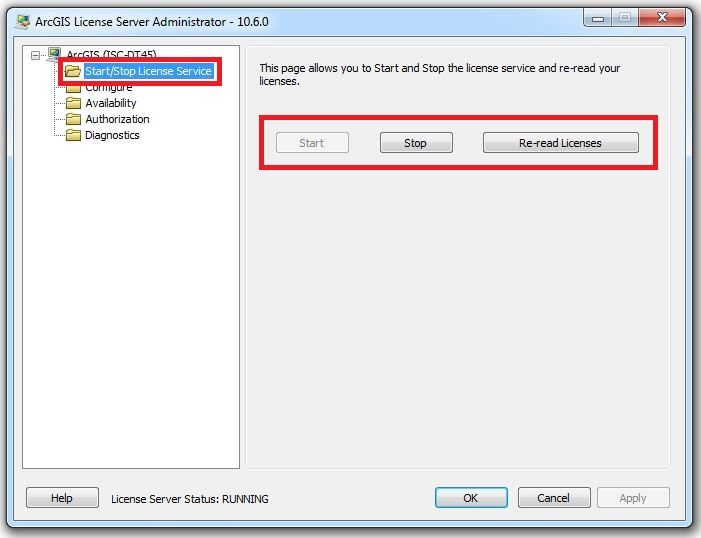 Image of the Start/Stop License Service folder in ArcGIS License Server Administrator
