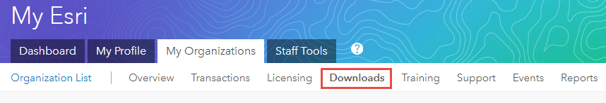 Screenshot of Downloads under the My Organizations tab