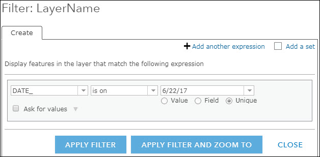 Filter by date in an ArcGIS Online web map