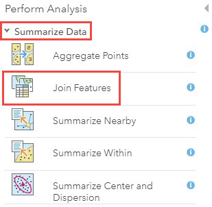 Screenshot of Join Features under the Summarize Data category in Perform Analysis