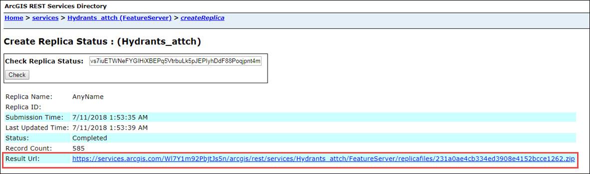 The Replica Status page.