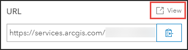 Clicking the View button next to URL to view the ArcGIS REST Services Directory of the layer.