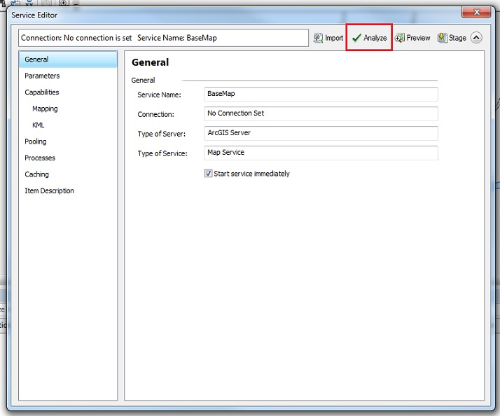 Image of the service editor window