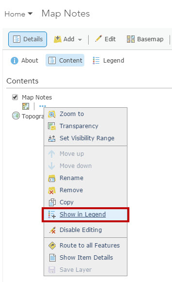 Faq Are Elements Of A Map Notes Layer Editable In The Legend Of An Arcgis Online Web Map