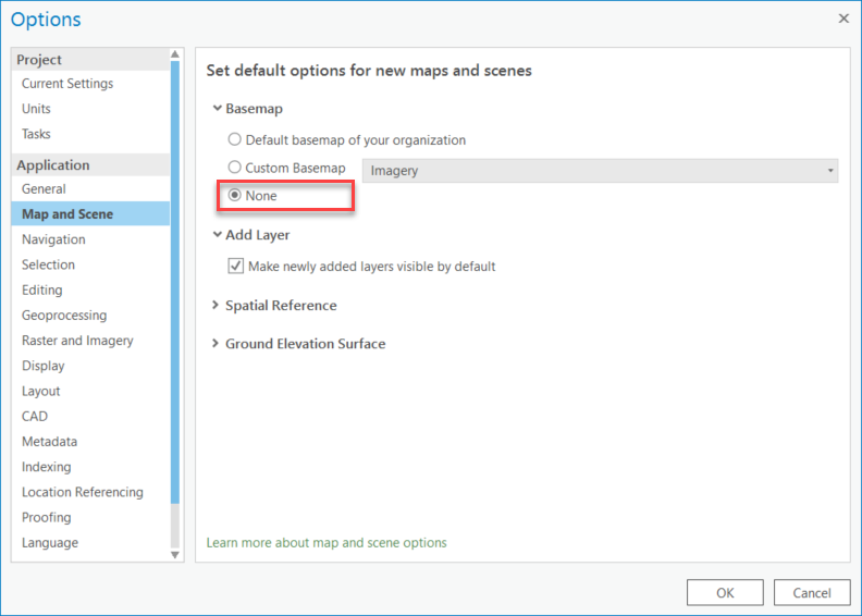 In Map and Scene, under the Basemap options, select None.