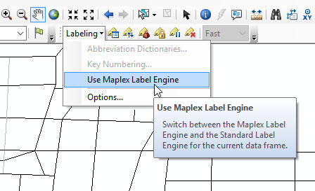 Click the Use Maplex Label Engine option from the Labeling toolbar in the Labeling drop-down menu