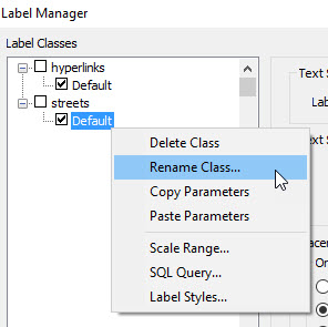 Right-click the Label Class name and select Rename Class