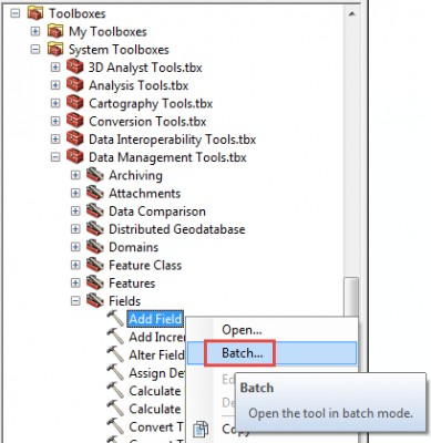 The Add Field tool in the Catalog window