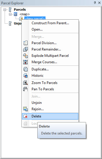 Right-click on the parcel icon in the Parcel Explorer window and choose Delete