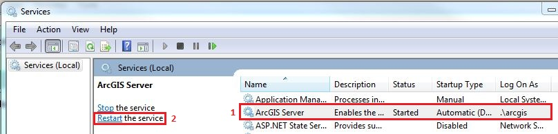 Problem: Unable to start or stop services in ArcGIS for Server