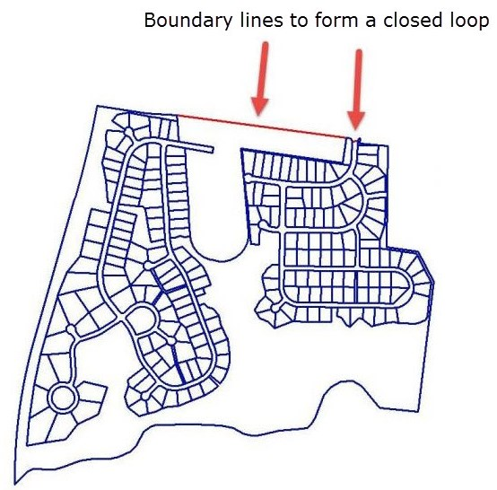 Create boundary lines to form a closed loop