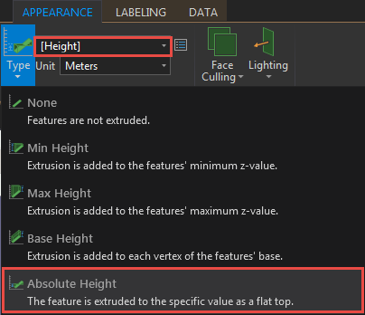 Selct Absolute Height and field with height values.