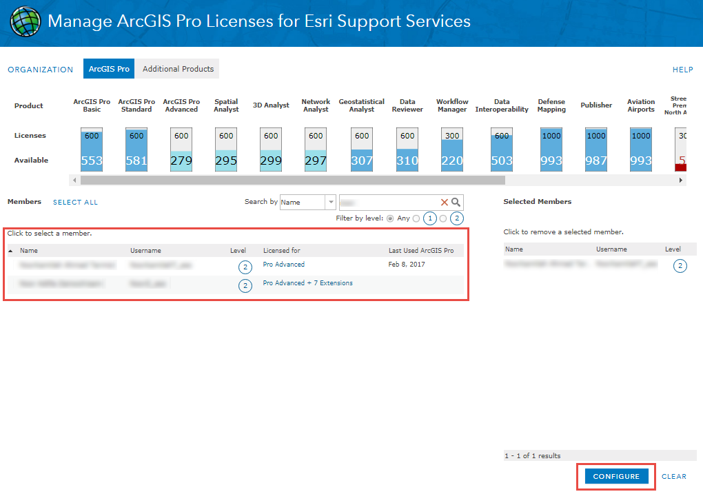 In the Manage Licensing page, click Configure at the bottom right panel.
