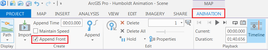 An image showing the Append Front check box in the Animation tab. This option allows newly created keyframes to be appended to the start of the animation in ArcGIS Pro.