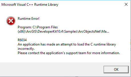 Error: R6034 Runtime Error! An application has made an attempt to