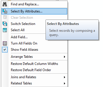 The image of Select by Attributes option