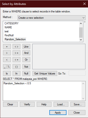 The image of the Select by Attributes window