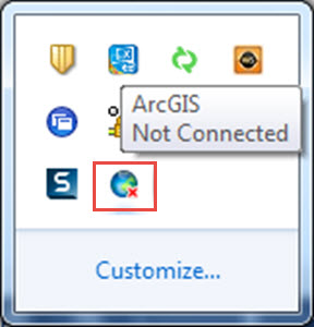 The disconnected ArcGIS Connection icon