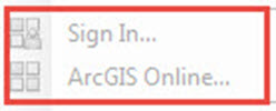 The Sign In and ArcGIS Online options inactive in ArcMap