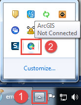The Show hidden icons and the disconnected ArcGIS Connection icon