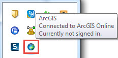 The ArcGIS Connection icon showing it is connected